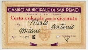 1932 SANREMO Casinò Municipale - Biglietto d'ingresso VINTAGE