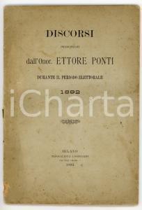 1892 Ettore PONTI Discorsi pronunciati durante il periodo elettorale *LOMBARDI