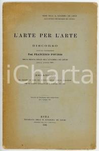 1905 Francesco D'OVIDIO L'arte per l'arte - Seduta Reale ACCADEMIA DEI LINCEI