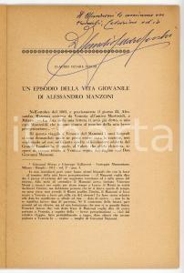 1963 Claudio SECCHI Un episodio della vita di Alessandro Manzoni *AUTOGRAFO
