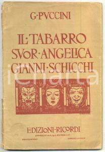 1918 Giacomo PUCCINI Il tabarro - Suor Angelica - Gianni Schicchi *Ed. RICORDI