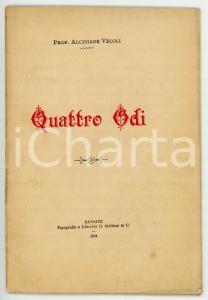 1894 Alcibiade VECOLI Quattro odi *Tipografia G. GALLIZZI - Sassari *AUTOGRAFO