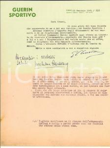 1941 TORINO GUERIN SPORTIVO Lettera Giulio CORRADINO CORRADINI *Autografo