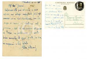 1938 CICLISMO MANTOVA Cartolina Fabio BATTESINI per una gara - AUTOGRAFO FG VG