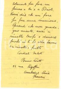 1938 CICLISMO PARIGI Bruno LOATTI sull'ingaggio di Maurice DIOT - AUTOGRAFO