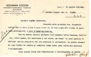 1938 CICLISMO MILANO Lettera allenatore Giovanni COCCHI per ingaggio - AUTOGRAFO