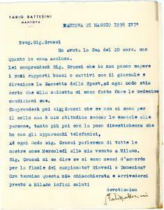 1938 CICLISMO MANTOVA Fabio BATTESINI e i rapporti con la Gazzetta - AUTOGRAFO