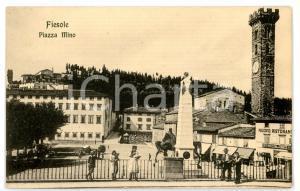 1930 ca FIESOLE (FI) Passanti in Piazza Mino - Scorcio con cattedrale *Cartolina