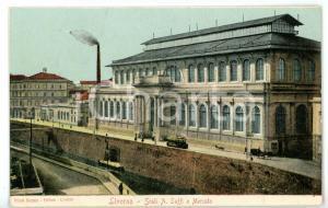 1915 ca LIVORNO Scorcio Scali A. SAFFI e mercato centrale *Cartolina ILLUSTRATA