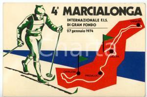 1974 4^ MARCIALONGA Internazionale FIS sci di fondo - Timbro FDC *Cartolina FG