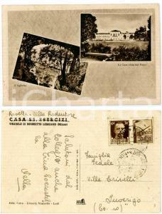 1944 BORGHETTO LODIGIANO - VIGAROLO Vedutine Casa SS. Esercizi *Cartolina FP VG