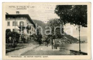 1937 CANNERO RIVIERA (VB) Hotel d'Italie au Lac - Viale sul lungolago *Cartolina