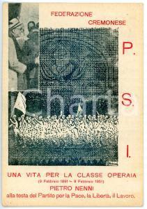 1951 CREMONA - PSI Cartolina augurale per compleanno Pietro NENNI - FP VG