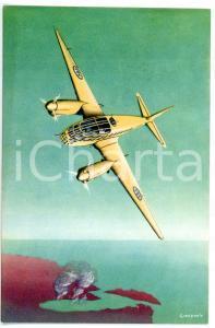 1940 ca MILANO Aeroplano CAPRONI 3/3 in volo *Cartolina pubblicitaria ILLUSTRATA