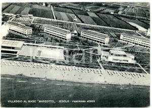 1950 ca JESOLO (VE) Villaggio al mare Marzotto - Veduta aerea *Cartolina VINTAGE