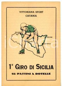 1950 ca VITTORIANA SPORT 1° Giro di Sicilia su pattini a rotelle *Cartolina FG