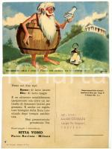 1963 MILANO Filosofo Diogene con yogurt YOMO *Cartolina pubblicitaria ILLUSTRATA