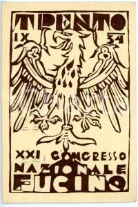 1934 TRENTO - FUCI XXI Congresso nazionale FUCINO *Cartolina ILLUSTRATA FG VG