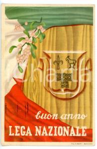 1949 TRIESTE Buon anno LEGA NAZIONALE *Cartolina augurale ILLUSTRATA - FG VG