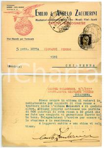1937 CASTEL BOLOGNESE (RA) Azienda vinicola ZACCHERINI - Cartolina commerciale