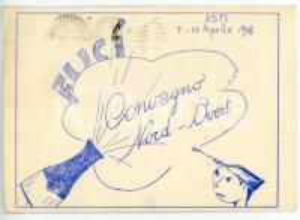 1958 ASTI - FUCI Convegno nord-ovest *Cartolina VINTAGE ILLUSTRATA - FG VG