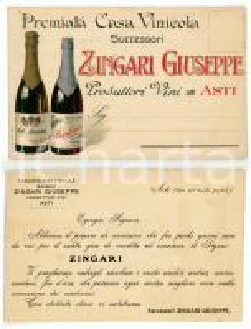 1910 ca ASTI Azienda vinicola Giuseppe ZINGARI *Cartolina commerciale VINTAGE FP