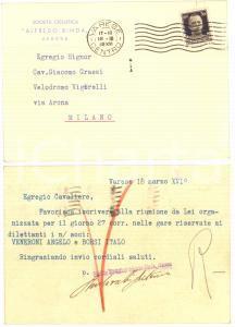 1938 VARESE Società Ciclistica Alfredo BINDA - Cartolina per gara dilettanti FP
