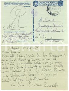 1942 CICLISMO Primo ZUCCOTTI chiede di correre al Vigorelli *Cartolina AUTOGRAFO
