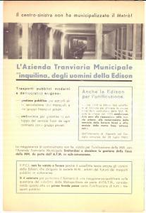 1962 MILANO Propaganda PCI - ATM inquilina della EDISON per la metropolitana