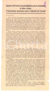 1944 WW2 RSI Appello PCI per la resistenza contro tedeschi e fascisti *Volantino