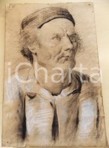 1960 ca ARTE Luigi TERZUOLO Ritratto maschile con berretto - Disegno FIRMATO