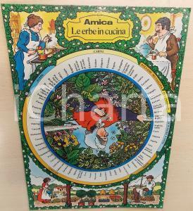 1970 ca AMICA - Le erbe in cucina - Pannello con disco girevole 21x29 cm