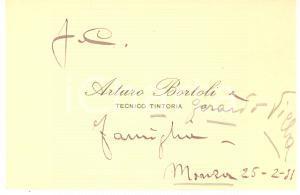 1931 MONZA Arturo BORTOLI Tecnico tintoria - Biglietto da visita