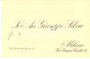 1930 ca MILANO Soc. An. Giuseppe SILVA - Biglietto da visita