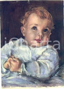 1939 ARTE ANONIMO Ritratto di bambino - Bozzetto tempera 20x27 cm