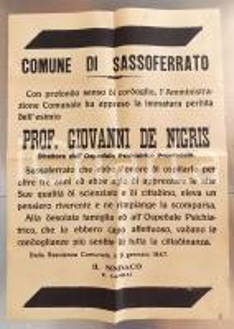 1947 SASSOFERRATO Morte prof. Giovanni DE NIGRIS - Manifesto 50x70 cm