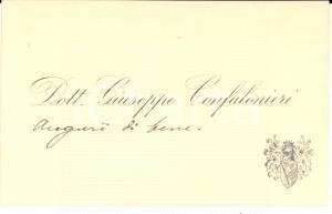 1910 ca s.l. Dott. Giuseppe CONFALONIERI - Biglietto da visita AUTOGRAFO