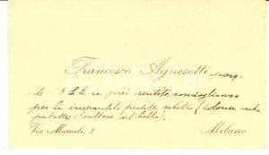 1940 ca MILANO Pittore Francesco AGNESOTTI *Biglietto da visita AUTOGRAFO