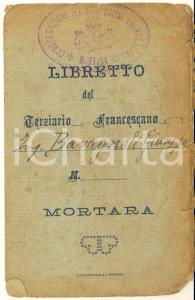 1924 MORTARA Libretto del terziario francescano ing. Giuseppe BAVAGNOLI