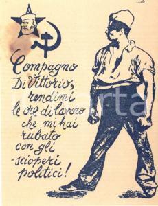 1948 PROPAGANDA Volantino anti FDP - Compagno DI VITTORIO rendi le ore rubate