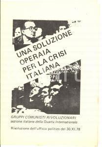 1978 GRUPPI COMUNISTI RIVOLUZIONARI Una soluzione operaia per la crisi italiana