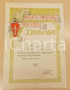 1932 TRIESTE Società Ginnastica Triestina - Diploma Fulvia CALZI 25x35 cm