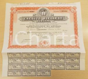 1922 BIELLA - CREDITO BIELLESE - Certificato azionario con cedole
