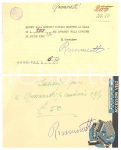 1940 CICLISMO Milano Vigorelli - Ricevute Carlo ROMANATTI per corsa - AUTOGRAFI