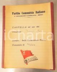 1953 ROMA PCI 5° Congresso Nazionale - Cartella del compagno Ezio BIANCHI ^VUOTA