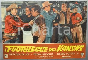 1952 IL FUORILEGGE DEL KANSAS Wild Bill ELLIOT - Fotobusta DANNEGGIATA 66x46 cm