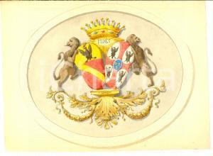 1900 ca ARALDICA Stemma conti CALCAMUGGI di ALESSANDRIA *Acquerello 25x19 cm