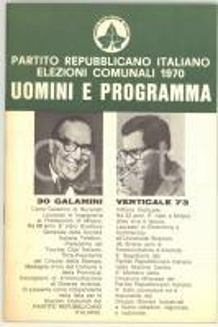 1970 MILANO PRI Elezioni comunali *Programma Carlo GALAMINI e Vittorio VERTICALE