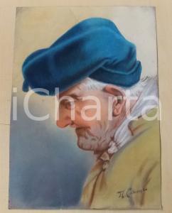 1930 ca A. COLOMBO Testa di vecchio con berretta - Pastello su carta 28x39 cm