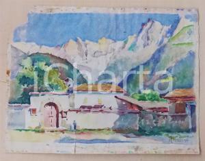 1936 ARTE Paesaggio di montagna con case - Acquerello FIRMATO DANNEGGIATO 28x18